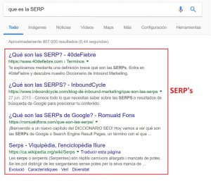 captura explicativa de las SERP