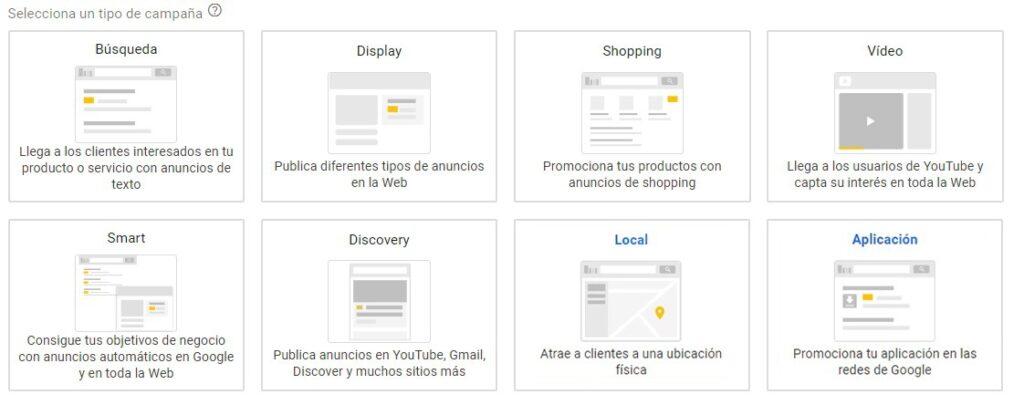 tipos de campaña de Google Ads